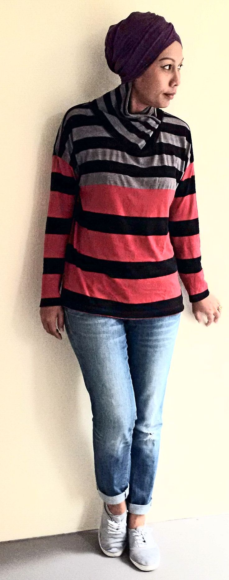 Casual turban style  #jeans #turtleneck #pinlesshijab