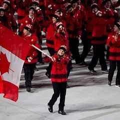 Hayley Wickenheiser - Team Canada enters Fisht Stadium for opening ceremony #HBCOlympics