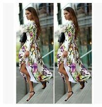 Длинная макси платье лето стиль женщины платья винтажный цветочный принт платье богемный пляж ну вечеринку платье x0417(China (Mainland))