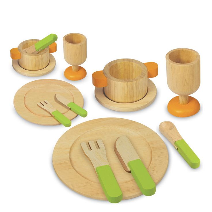 Artiwood Dining Set - $40 A fantastic addition to any kitchen! Features two drinks glasses, two soup bowls, two saucers, two plates, two knives and two forks  3yrs + The Artiwood range of toys is produced from sustainable rubber wood, finished with non toxic child safe paints and comes in recycled packaging