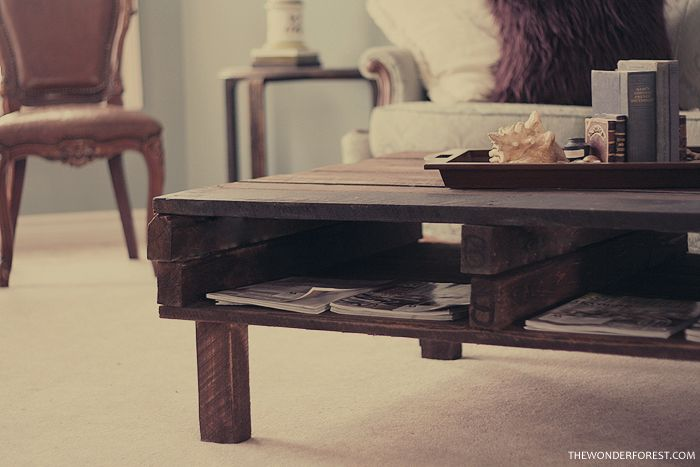 "DIY ""Rustic"" pallet table. From www.thewonderforest.com Love it.: Diy Pallet, Ideas, Craft, Diy Rustic, Pallet Coffee Tables, Wood Pallets, Pallet Tables"