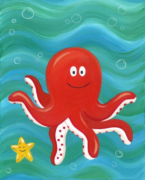Ocean Octopus Nursery Print Ocean Theme Nursery by heathercashart