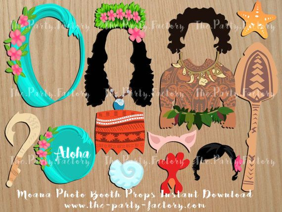 Aloha! - Moana inspired Photo Booth Props  * * * * * * * * * * * * * * * * * * * * * * * This listing is a digital PDF file, no physical items to be shipped. As soon as your payment is accepted, youll receive the file immediately.   This includes 1 PDF file with (16) A3 to A4 size designed props ready to print.   Please be aware that colors vary monitor to monitor, as well as printer to printer.   Kindly note that this set is to be used for your own personal use and cannot be used for any…