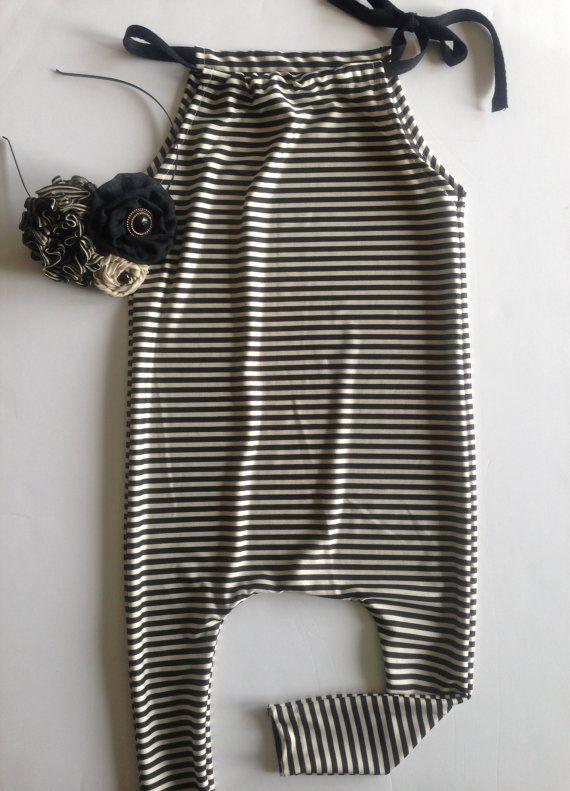 Black & White Stripe Harem Style Romper, 3-6 mo. up to 2T on Etsy, $40.00
