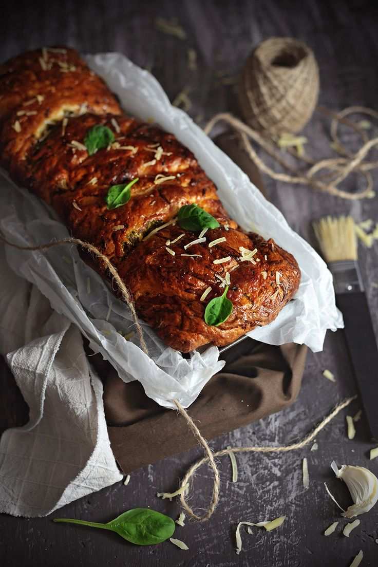 Savory Brioche with Garlic, Spinach and Smoked Gouda