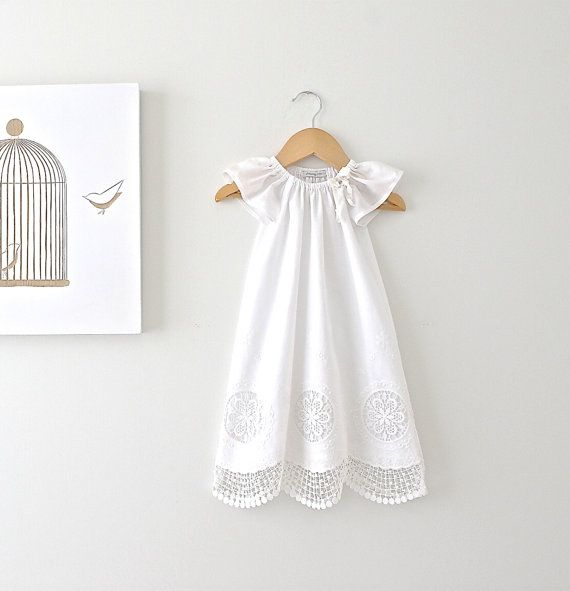 Baby Girl Long Baptism Dress-Antique White and Lace Cotton Vintage Christening Dress-Naming Ceremony Dress-Children Clothing by Chasing Mini