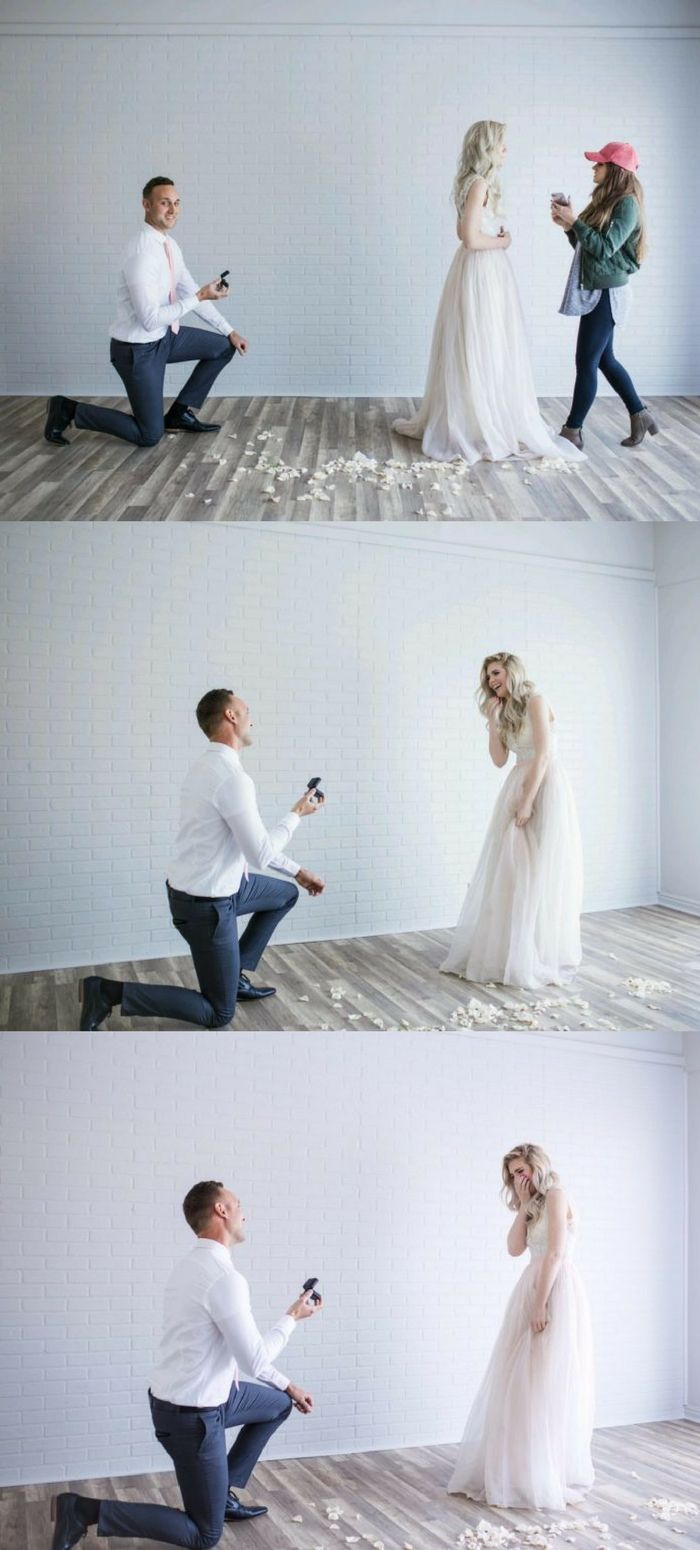She was in the middle of a photoshoot, when she turned around to see her boyfriend on one knee proposing!