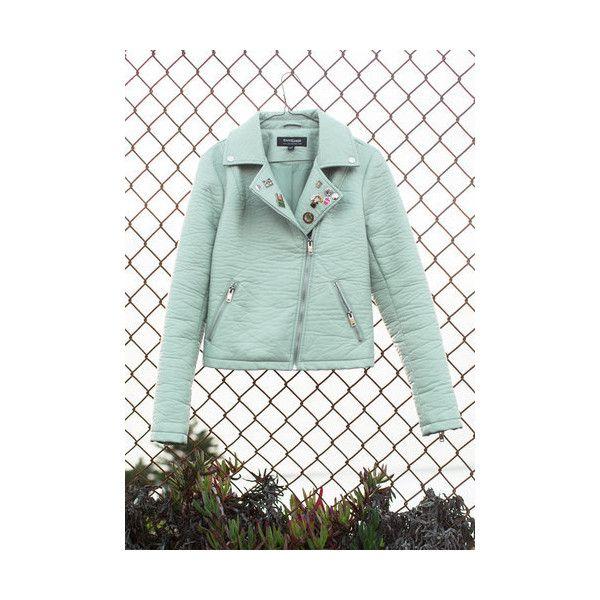 Pastel Short Length Long Sleeve Edgy Meets Elegant Jacket ($70) ❤ liked on Polyvore featuring outerwear, jackets, apparel, mint, moto jacket, zipper jacket, shiny jacket, mint jacket and green moto jacket