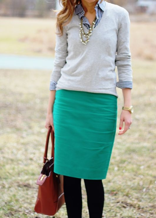 Sweater: J.Crew Factory, Shirt: J.Crew, Skirt: J.Crew, Necklace: F21, Watch: Fossil