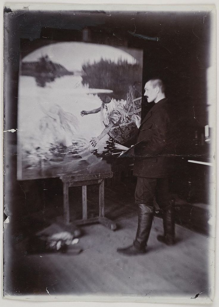 Axel Gallén painting The Aino Myth in Helsinki, ca.1890; print 1 of the photograph 2. (14728427282) - Akseli Gallen-Kallela – Wikipedia