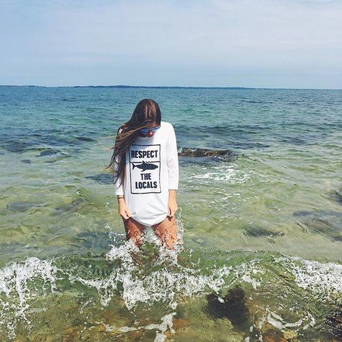 Respect The Locals Unisex 3 Quarter Sleeve - Shark Shirt - Hand Made Clothing - One Ocean One Love Shop - Made in the USA