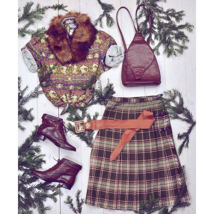 Vintage winter 🌲 szputnyikshop dailylook ootd outfit kilt scottish look