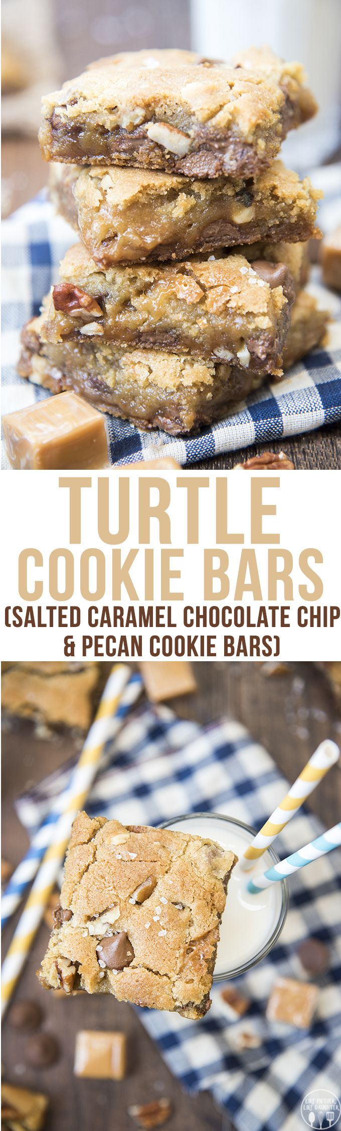 Turtle Cookie Bars - These cookie bars have two layers of chocolate chip pecan filled cookie, full of gooey caramel in the middle. Everyone will love these!