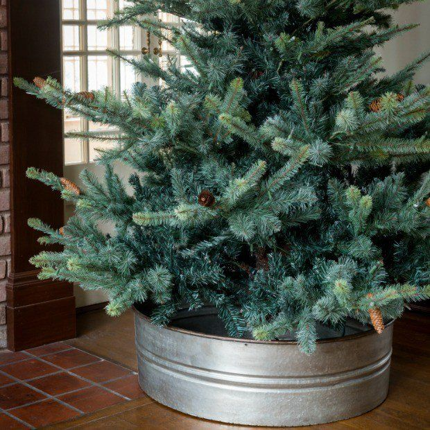"""Galvanized Tub (washtub), 32"""" dis x 10"""" H -- large enough to hide & hold the Christmas Tree water-holder OR uses a small wading pool, decorative fountain, large iced beverage tub, etc"""