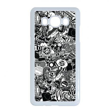 Fekete-fehér matricabomba - Samsung Galaxy J5 2016 tok, fehér kerettel műanyag