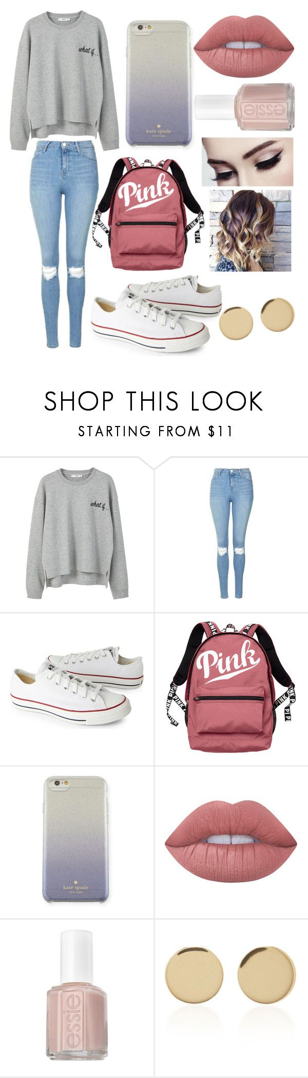 """""""A Casual School Day"""" by amirah-lockett ❤ liked on Polyvore featuring MANGO, Topshop, Converse, Victoria's Secret, Kate Spade, Lime Crime, Essie and Magdalena Frackowiak"""