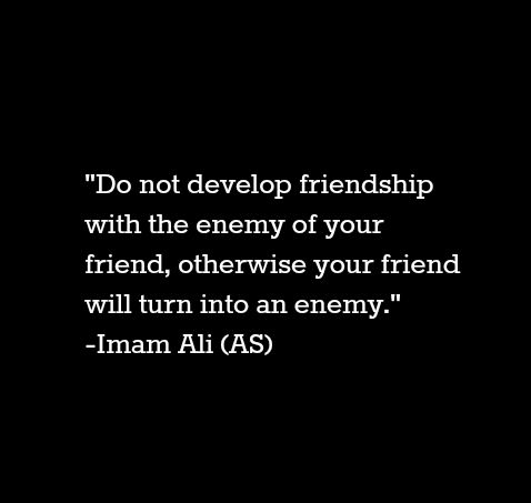 Do not develop friendship with the enemy of your friend will turn into an enemy. -Imam Ali (a.s)