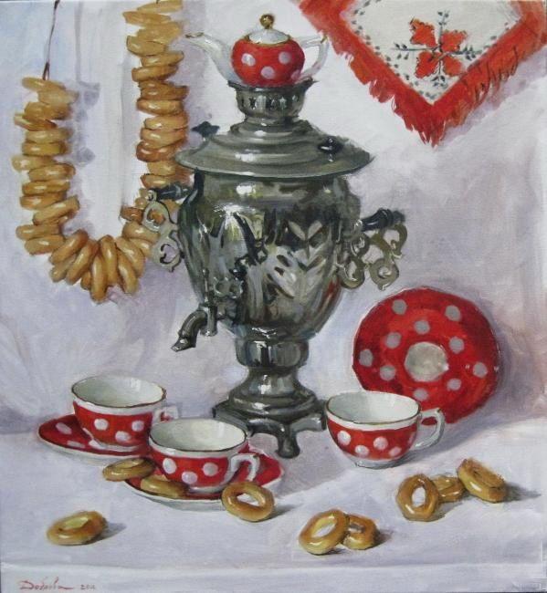 Слова открыткам, картинка самовар с бубликами и с чайником для детей