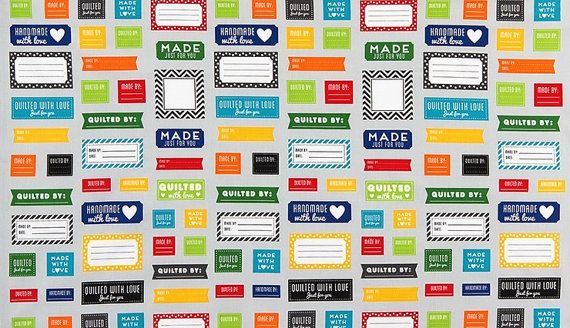 Quilt Labels Fabric - Made for You by Ann Kelle for Robert Kaufman - 100% cotton. AAK-15817-204 Primary - Select Your Length