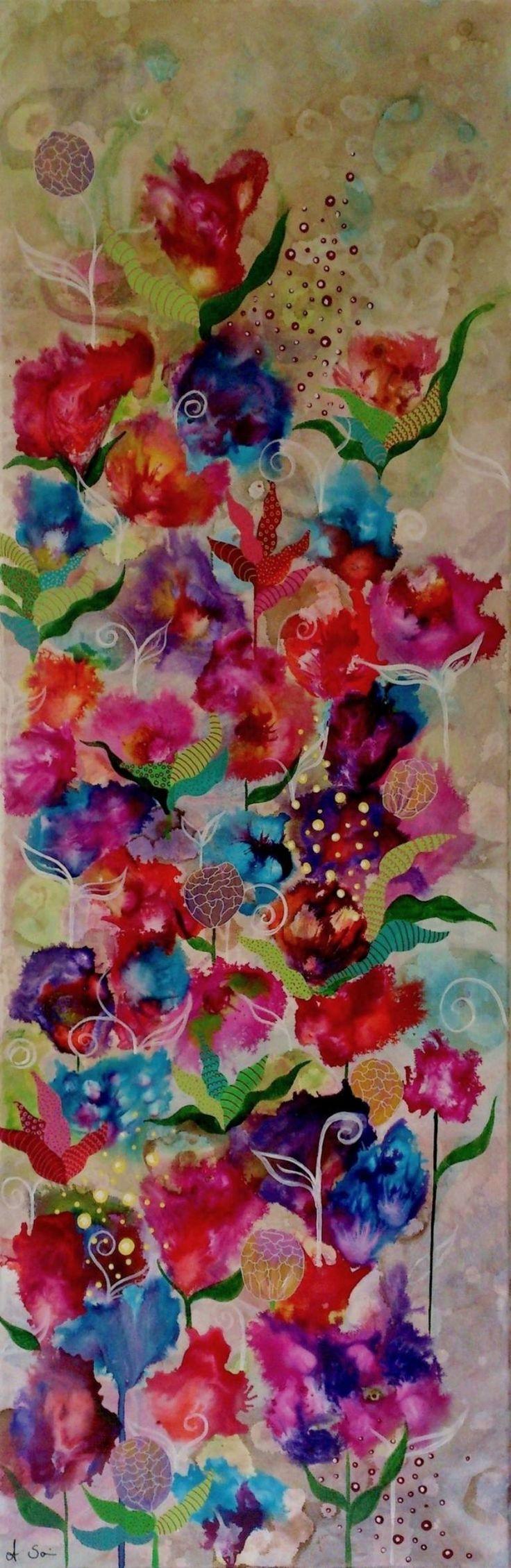 "Saatchi Art Artist Anja Saier; Painting, ""Floral mess"" #art"
