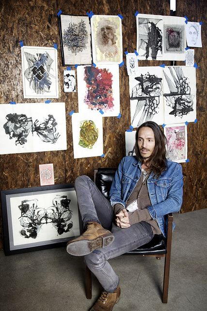 Apart from Incubus, Brandon Boyd also makes beautiful art… he stopped by the studio, showed us what he's been working on and we picked his lovely brain…