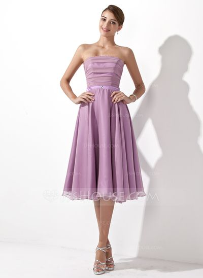 A-Line/Princess Strapless Knee-Length Chiffon Bridesmaid Dress With Ruffle (007001109)