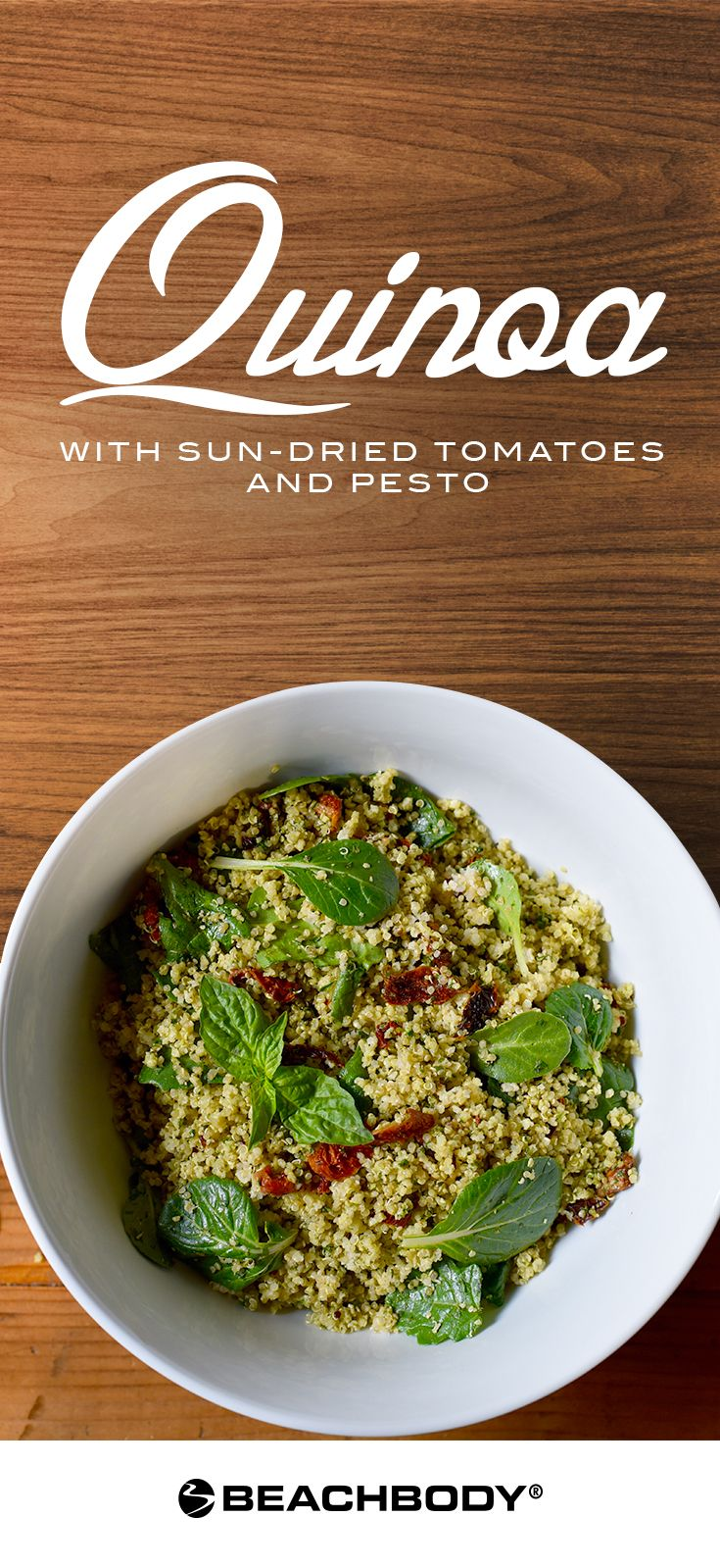 This Quinoa with Sun-Dried Tomatoes and Pesto recipe is basically a bowl of superfood that tastes incredible. It's perfect for a potluck, an office lunch, or a hearty side dish! // healthy recipes // salads // quinoa recipes // vegetarian // lunches // dinners // Beachbody // BeachbodyBlog.com