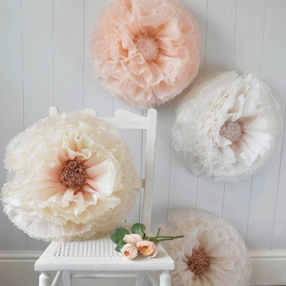 Three giant hand-dyed paper flowers in copper, peach ombré, nude and ivory wedding decor