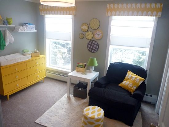 yellow-gray-nursery, oh I like that color scheme