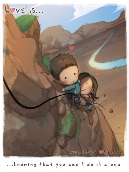Love is Knowing That You Can't Do It Alone | ~ <3 Loved & pinned by http://www.shivohamyoga.nl/ #love #quotes #quote #lovely #cute #loveis #cartoon #warm #hope #live #life #hope #hjstory #adorable