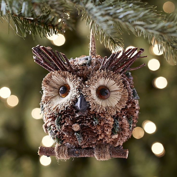Natural Pinecone Owl Ornament