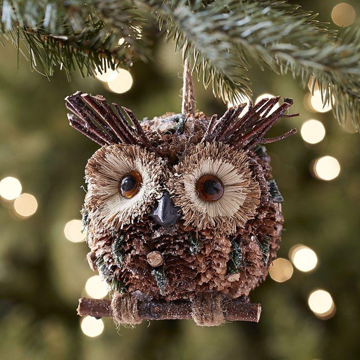 Natural Pinecone Owl Ornament