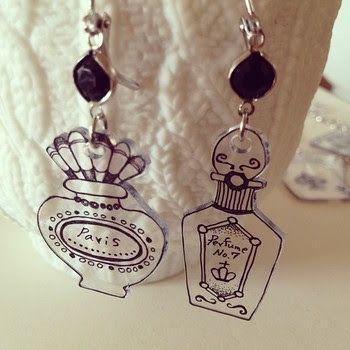 Perfume earrings (make from clear shrink plastic?)