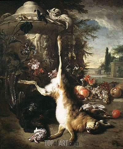 """Jan Baptist Weenix (1621 -1660) """"Натюрморт с мёртвым зайцем""""."""