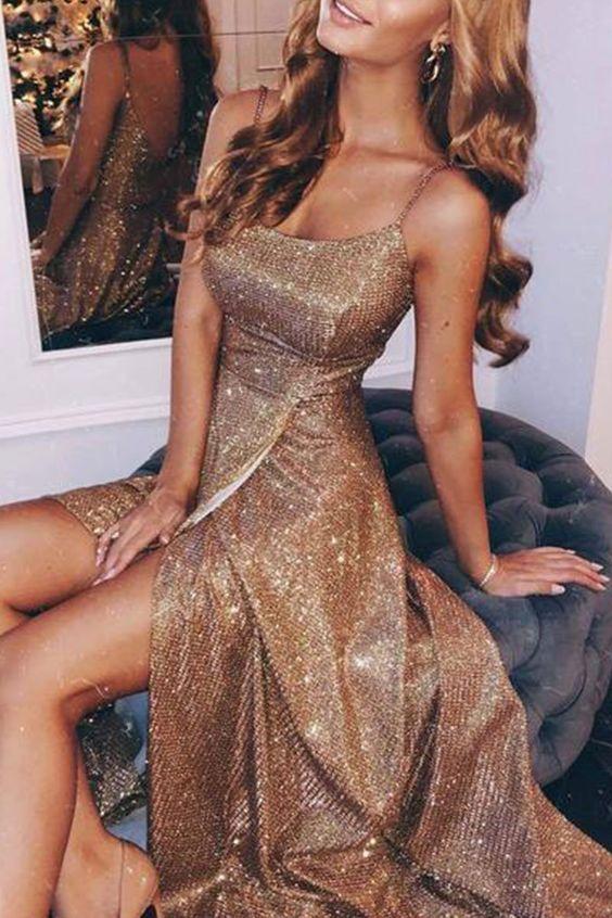 Spaghetti Straps Split Side Long Prom Dresses Evening Gowns – Nicht schlecht