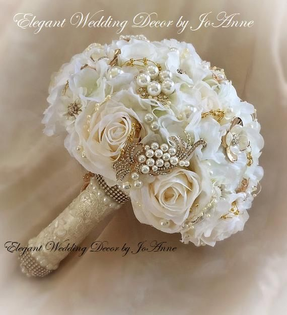 Hydrangea Bouquet Off White And Gold Jeweled Bouquet Custom Etsy Jeweled Bouquet Gold Wedding Flowers Gold Wedding Bouquets