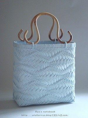 エコクラフト:波 網代編みバッグ(鞄):波波