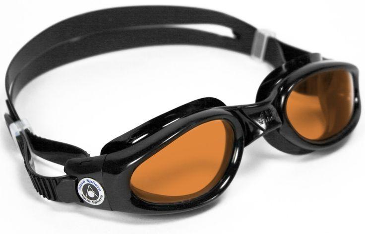 Aqua Sphere Kaiman Swim Goggle (Regular, Amber Lens/Black Frame)