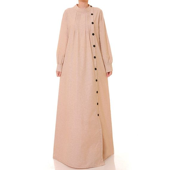 Brown Beige Cotton Linen Long Sleeved Abaya by Tailored2Modesty