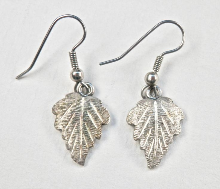 Silver Leaf Earrings, Oak Leaves, Sterling Silver, Leaf Jewelry, Figural Jewelry, Autumn, Frosty Matte, Thanksgiving, Signed Vintage, 925 by TheJewelryChain on Etsy