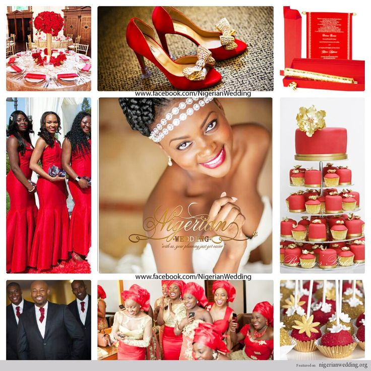 Nigerian Wedding Red And Gold Color Scheme For White
