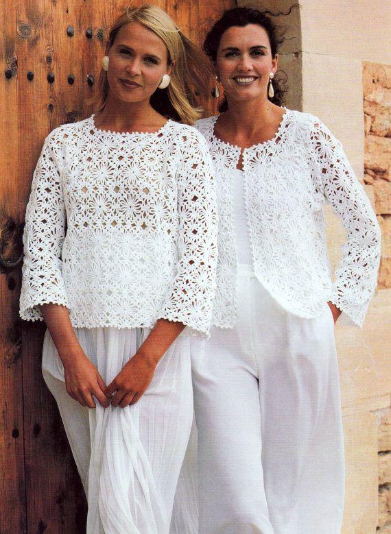 Crochet Pattern  Vintage  Granny Square Motif Tops  Sweater Jacket Vest Top INSTANT DOWNLOAD PDF