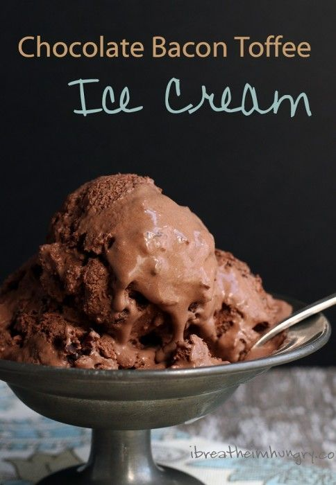 Chocolate bacon toffee ice cream! A decadent low carb ice cream recipe with a creamy chocolate base with crunchy toffee and chocolate covered bacon stirred in. Gluten free, keto, low carb, paleo friendly.