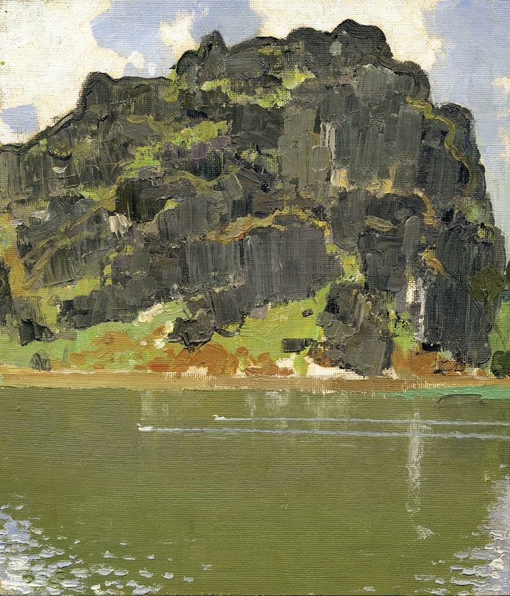 Black Rocks in the Afternoon (Zhaoqing, Guangdong, China), Oil on Canvas, 9.8x8.4 inches, 1975