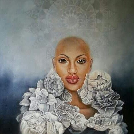 Barbara Becker 'Camelia' 1m x 1m Oil on canvas