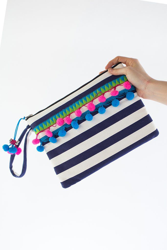 WEFTshop x The Social Outfit Navy Neon Clutch