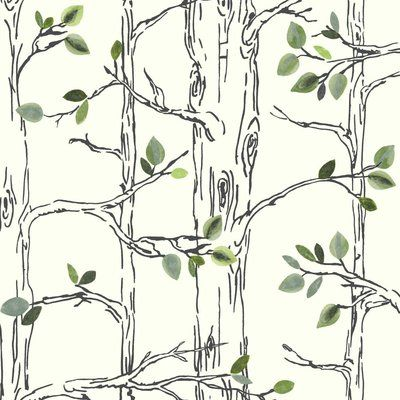 "York Wallcoverings Brothers and Sisters V Knock on Wood 33' x 20.5"" Botanical / Foliage Roll Wallpaper Color: White/Black/Gray/Green"