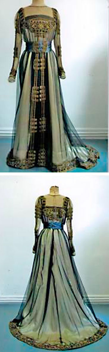 """""""Tudor"""" ball gown, Jacques Doucet, ca. 1905 (attributed to). Black silk chiffon and gold metallic thread over ivory  satin and taffeta. Blue satin cummerbund. Extensive soutache embroidery in golden metallic thread. Thierry de Maigret Auctions"""
