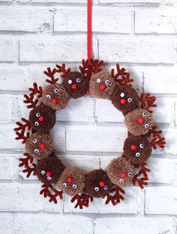 Handmade Christmas reindeer pom pom wreath