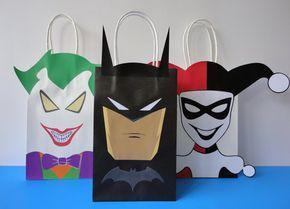 Printable > Batman/ Joker and Harley Quinn Favor/ Candy/ Treat bags! Buy this printable template @ my Etsy shop. Just Download, Print, Cut and Paste!! Unlimited Printing!! Harley quinn/ joker party ideas/ Party games/ harley joker favors/ harley quinn invite/ invitations/ Harley Joker wedding/ Harley Joker birthday party/ Harley halloween/ DC villain superheroes party/ harley quinn and joker cake/ cupcakes/ harley quinn labels/ goodie bags/ fantasia/ festa/ bolo batman/ Joker